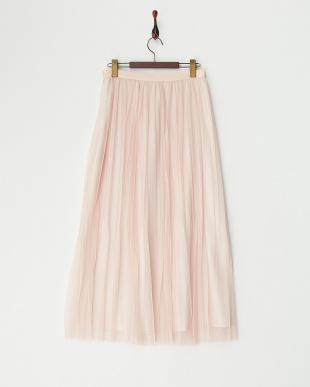 ピンク  チュールロングプリーツスカート見る