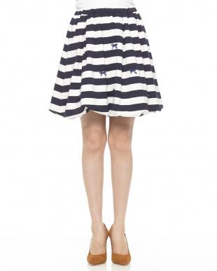紺  ボーダーリボン バルーンスカート(160cm)見る