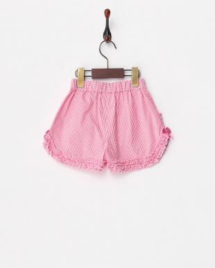 ピンク  ギンガム柄フリルショートパンツ見る