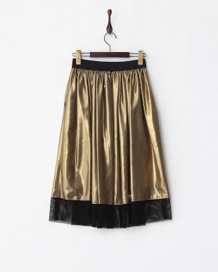 ゴールド ゴールド シャイニーグロスギャザースカート見る