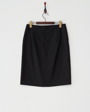 ブラック  エステル混タイトスカート見る