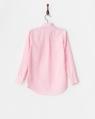 ピンク  リネンシャツ(無地)見る