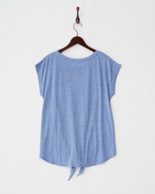 ブルー  フレンチスリーブ裾結びTシャツ見る