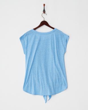 ライトブルー  フレンチスリーブ裾結びTシャツ見る