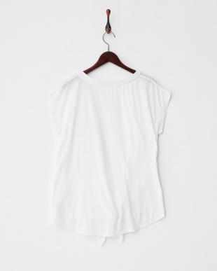 ホワイト  フレンチスリーブ裾結びTシャツ見る