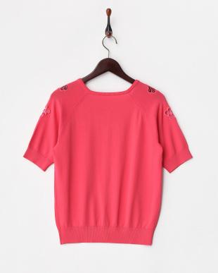 ピンク  フラワー刺繍半袖ニットカーディガン見る