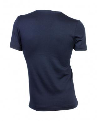 ネイビーブルー  中厚ストレッチ起毛 VネックTシャツ見る
