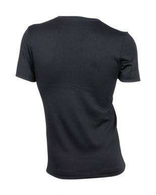 ブラック  中厚ストレッチ起毛 VネックTシャツ見る