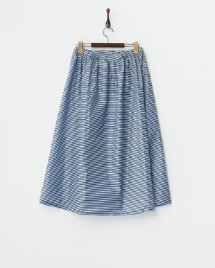 ネイビー ボーダー  柄はっ水レインスカート|WOMEN見る