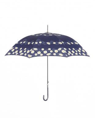ネイビー  雨晴兼用 長傘マーガレット|WOMEN見る