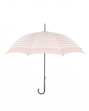 ピンク  耐風 長傘ボーダー|WOMEN見る
