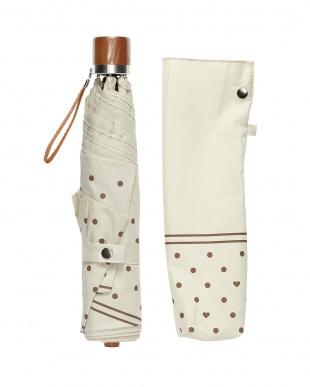 ベージュ  折りたたみ ミニ傘裾ドット|WOMEN見る