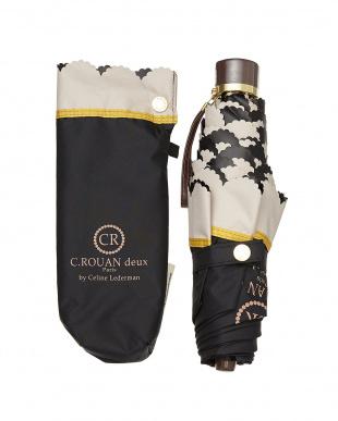ブラック  ワンポイントロゴ遮光折りたたみ傘|WOMEN見る