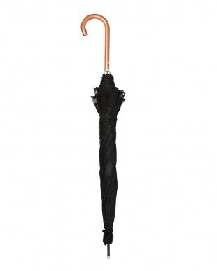 ブラック×ブラック 二重張りフラワー長傘|WOMEN見る