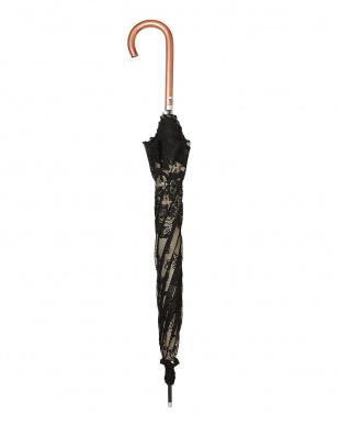 ブラック×ベージュ  二重張りフラワー長傘|WOMEN見る