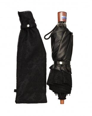 ブラック×ブラック  二重張りオーナメント折たたみ傘|WOMEN見る