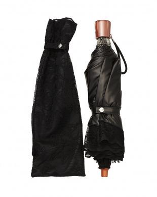 ブラック×ブラック  二重張りフラワー折たたみ傘|WOMEN見る
