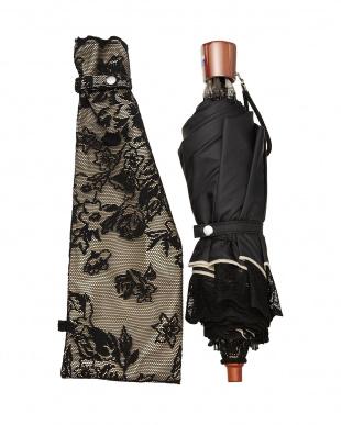 ブラック×ベージュ  二重張りフラワー折たたみ傘|WOMEN見る