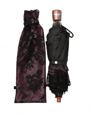 ブラック×ワイン  二重張りフラワー折たたみ傘|WOMEN見る
