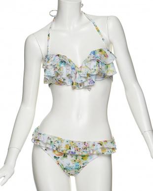 ホワイト  Vivid Flower 花柄 ホルターワイヤービキニ+スカート見る