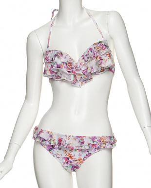 ピンク  Vivid Flower 花柄 ホルターワイヤービキニ+スカート見る