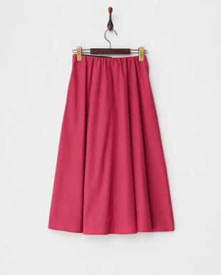 ピンク  フロントリボン コットンギャザースカート見る