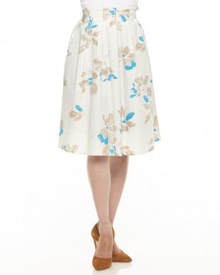 オフホワイト  フラワープリント フレアースカート見る