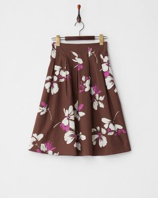 ブラウン  フラワープリント フレアースカート見る