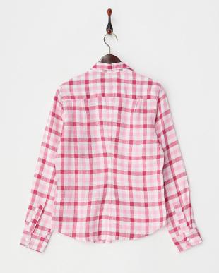 ピンク リネンチェックシャツ見る