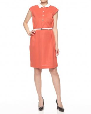 オレンジ×オフホワイト系 ニット衿使い バックストライプワンピース見る
