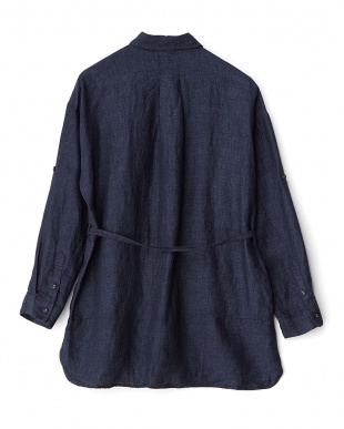 ネイビー ル・ポワン染め リネンシャツジャケット見る