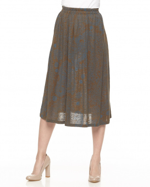 ブラウン×ブルー リネンシルクジャージー プリント フレアースカート見る