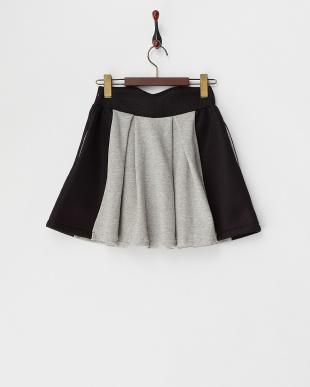 グレー  刺繍入り スウェット×メッシュ スカート見る