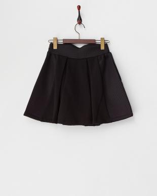 ブラック  刺繍入り スウェット×メッシュ スカート見る