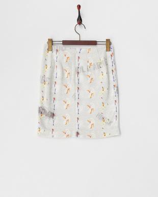 ホワイト  サイドリブ切り替え スウェットスカート見る