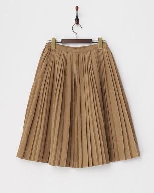 ブラウン スエード調ランダムプリーツスカート見る