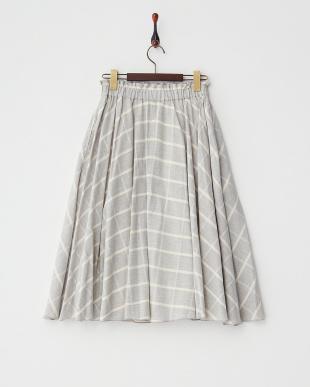 グレーチェック  インドチェックボイルスカート見る