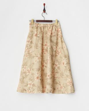 ベージュ  花柄サーキュラースカート見る