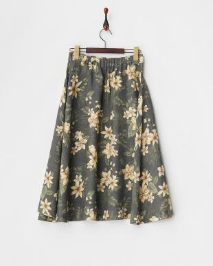 グリーン  花柄サーキュラースカート見る