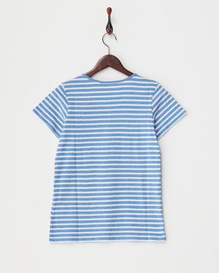 ブルーボーダー  天竺コットン半袖Tシャツ見る