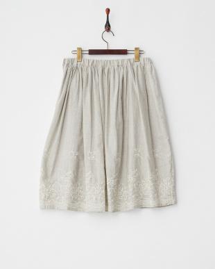 ライトグレー フラワー刺繍ストライプギャザースカート見る