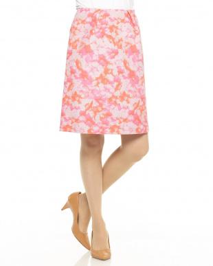 ピンク ラメフラワージャガードスカート見る