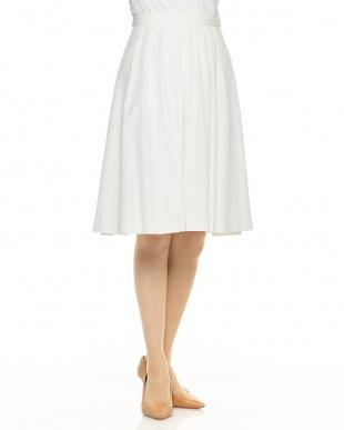 ホワイト ウエストタックミモレ丈スカート見る