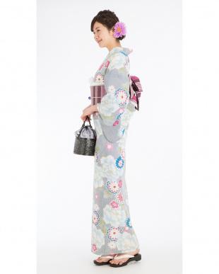 マルチ プチゴージャス 細縦縞&花&桜 浴衣+造り帯+下駄|WOMEN見る