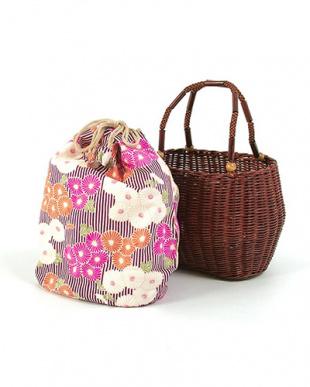 パープル系  縞×菊 かご巾着 ブラウン|WOMEN見る