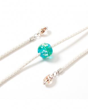 ホワイト/ライトブルー 花柄トンボ玉 飾り紐|WOMEN見る