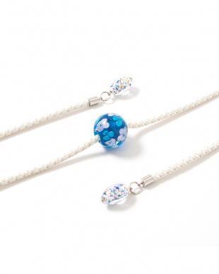 ホワイト/ブルー 花柄トンボ玉 飾り紐|WOMEN見る