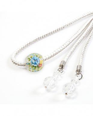 ホワイト 花転写トンボ玉太糸飾り紐|WOMEN見る