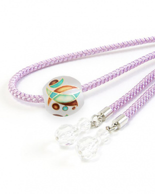 パープル ミカヅキ転写トンボ玉太糸飾り紐|WOMEN見る