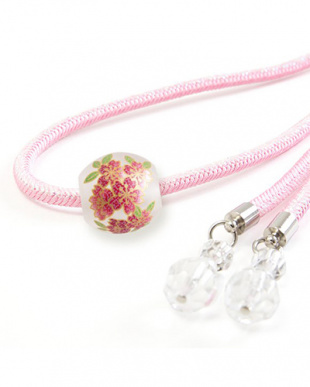 ピンク 桜転写トンボ玉細糸飾り紐|WOMEN見る